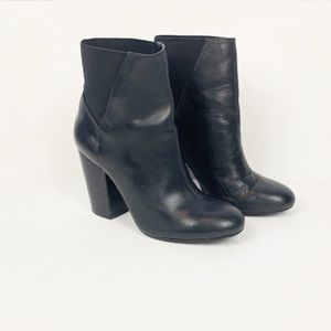 BCBG Lillyan Leather Chunky Ankle Boots Bloch Heel